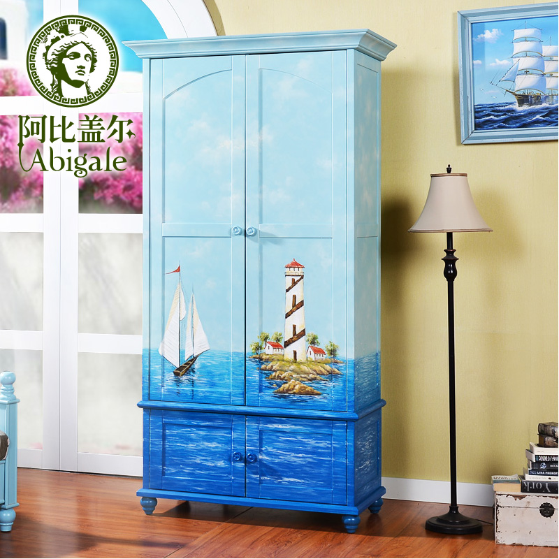 sailing painted double door wardrobe closet locker american children bedroom furniture wardrobe cheap cheap