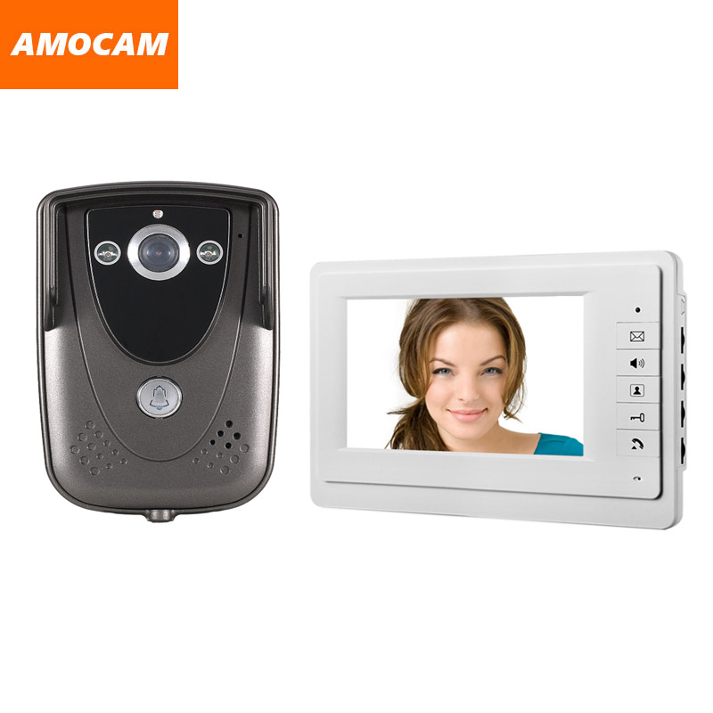 Video Door Phone doorbell Intercom 7 inch LCD Monitor Waterproof IR Night Vision Camera wired video interphone doorphone kit 7 monitor video doorbell door phone intercom system ir night vision alloy door camera wired video interphone kits 2 monitor