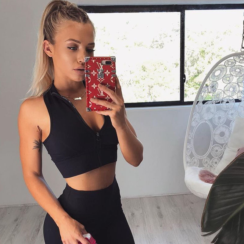 3e439bb03faae Front Chest Sexy Zipper Opening Turtleneck Women Short Tank Top Summer New  Casual Sporting Fitness Crop Tops Black Gray Vest-in Tank Tops from Women s  ...