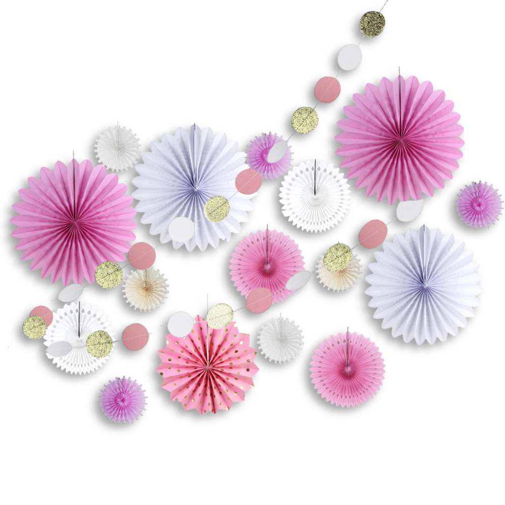 17pcs Pink&White Paper Decoration Set Glitter Circ...