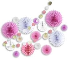 17pcs Pink&White Paper Decoration Set Glitter Circle Garland Assorted Paper Fans Birthday