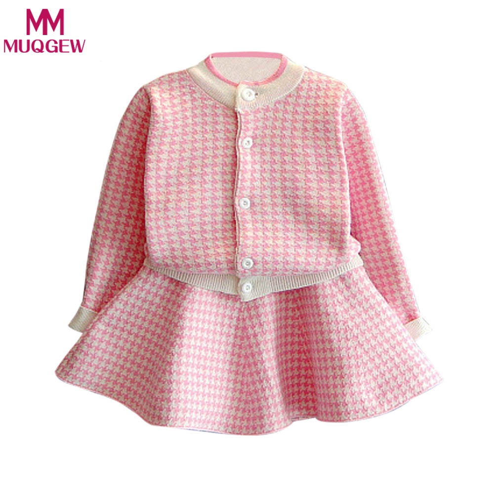Autumn Toddler Girls Clothing Sets 2018 Fashion Houndstooth Knitted Suits Long Sleeve Plaid Jackets+Skits 2Pcs for Kids Suits fashion slim girls clothing sets long sleeve plaid sweater two piece skirt suits cotton kids wear vetement fille split hem