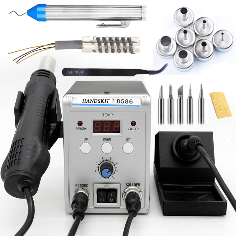 750 Watt 8586 2 In 1 digitalHot Luftpistole Lötstation Schweißen Lötkolben Für IC SMD überarbeitungsstation 220 v