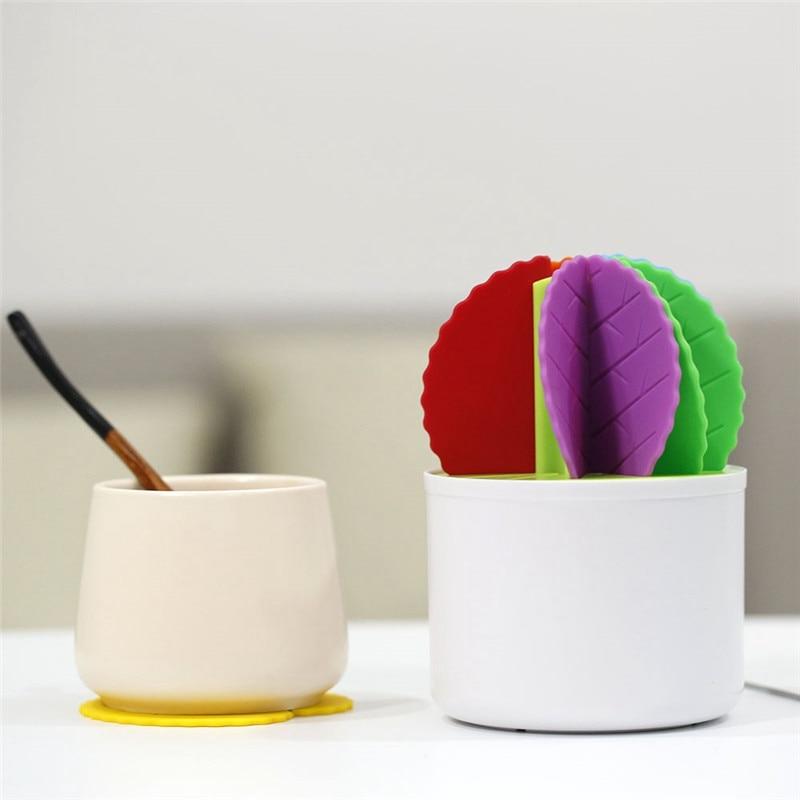 Vijtian Dessous de verre en silicone pour d/écoration de table en forme de cactus et bonsa/ï Isolation thermique Vert