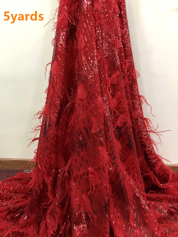 African feather Lace Fabric High Quality African Tulle Lace Fabric With sequins appliqued French Lace For Women Dress XHA091