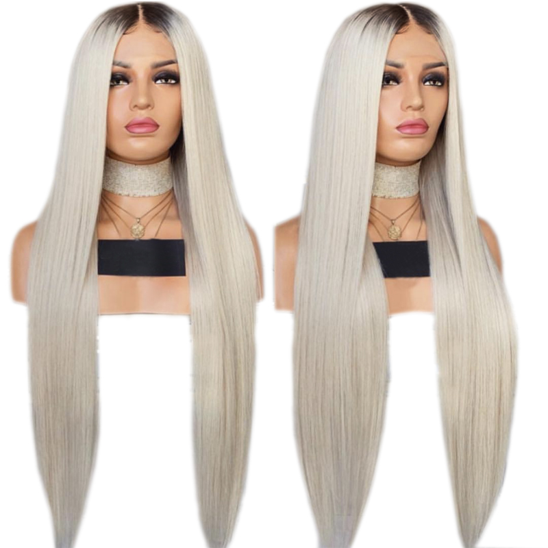 Charisma Black Roots Ombre Platinum Straight Synthetic Lace Front Wig Heat Resistant Wigs Natural Hairline For