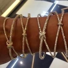 Godki personalize ampla luxo 2 em 1 bowknot pulseira para o casamento feminino completo micro zircão cristal dubai pulseira 2019