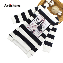 Kids Girl Dresses Cartoon Printed Striped For 6-12Y