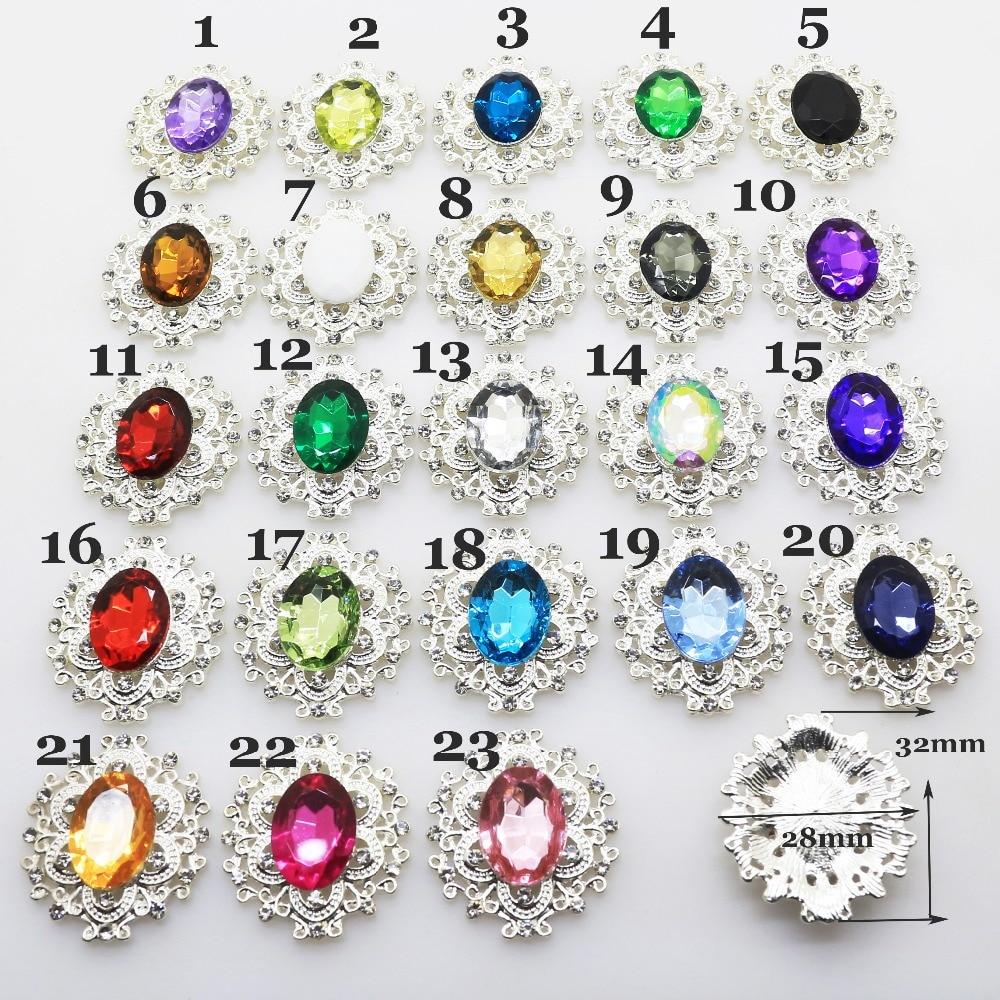 Hot Sale 10pc 28*32mm Metal Buttons Acryilc Rhinesotne Button DIY Wedding Metal Hair Flower Center Scrapbooking Accessories