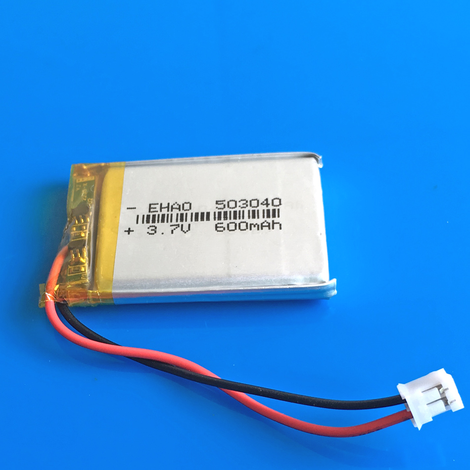 <font><b>3.7V</b></font> <font><b>600mAh</b></font> 503040 Rechargeable <font><b>battery</b></font> JST PH 2.0mm lipo polymer lithium CELLS for MP3 GPS DVD bluetooth Recorder ebook camera image