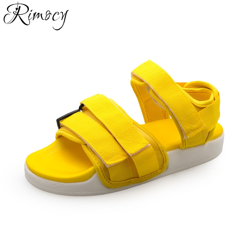 Rimocy women flat heels ankle strap casual shoes open toe platform yellow comfortable sandals fashion ladies summer flats woman women flat sandals fashion ladies pointed toe flats shoes womens high quality ankle strap shoes leisure shoes size 34 43 pa00290