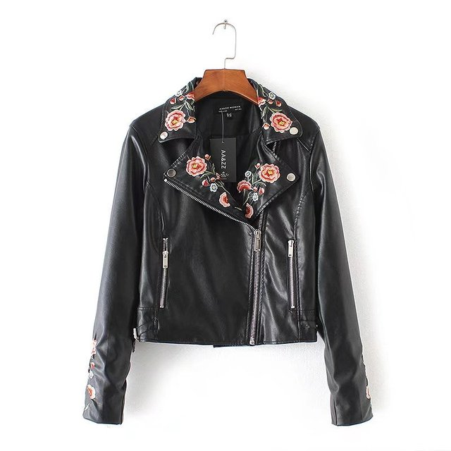 97868f34871e9 2017 Embroidery faux leather coat Motorcycle zipper black leather jacket  women Fashion cool outerwear winter jacket B447