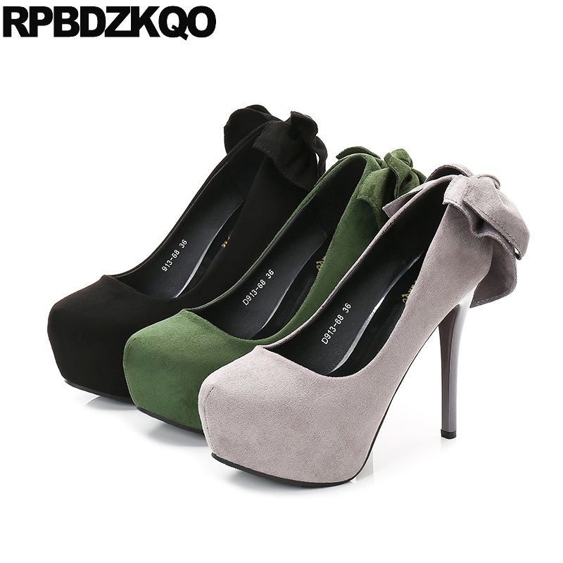 Platform Footwear Scarpin Ultra Super Women Gray 14cm Bow Pointed Toe <font><b>Fetish</b></font> <font><b>High</b></font> <font><b>Heels</b></font> <font><b>Sexy</b></font> <font><b>Extreme</b></font> 12cm 5 Inch <font><b>Shoes</b></font> Fashion image