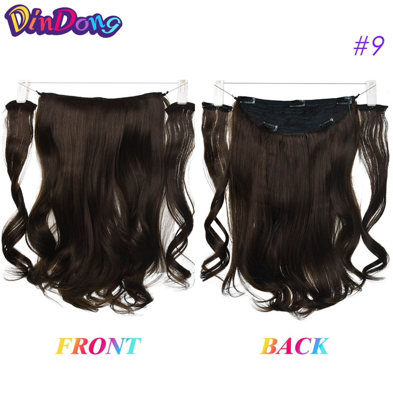 Dindong 18 Inch Invisible Wire Hair Extensions Synthetic Wavy 3