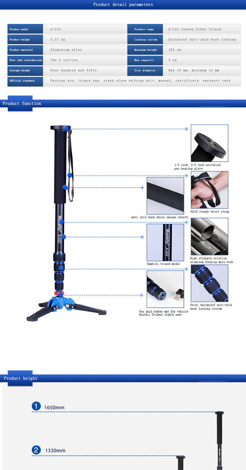 A-222 Aluminum Photography Stand Digital SLR Camera Monopod Additional Base & Ball Head high quality  camera tripod