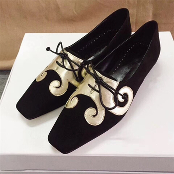 New Fashion Black Women Flats Shoes Lace-Up Square Toe Slip On Casual Shoes Tenis Feminino Casual Female Shoes Woman 2019