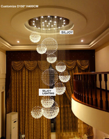 Modern Contemporary Luxury Round Large 11 Sphere Rain Drop Clear LED Crystal Chandelier for Hotel Business Lighting Fixture