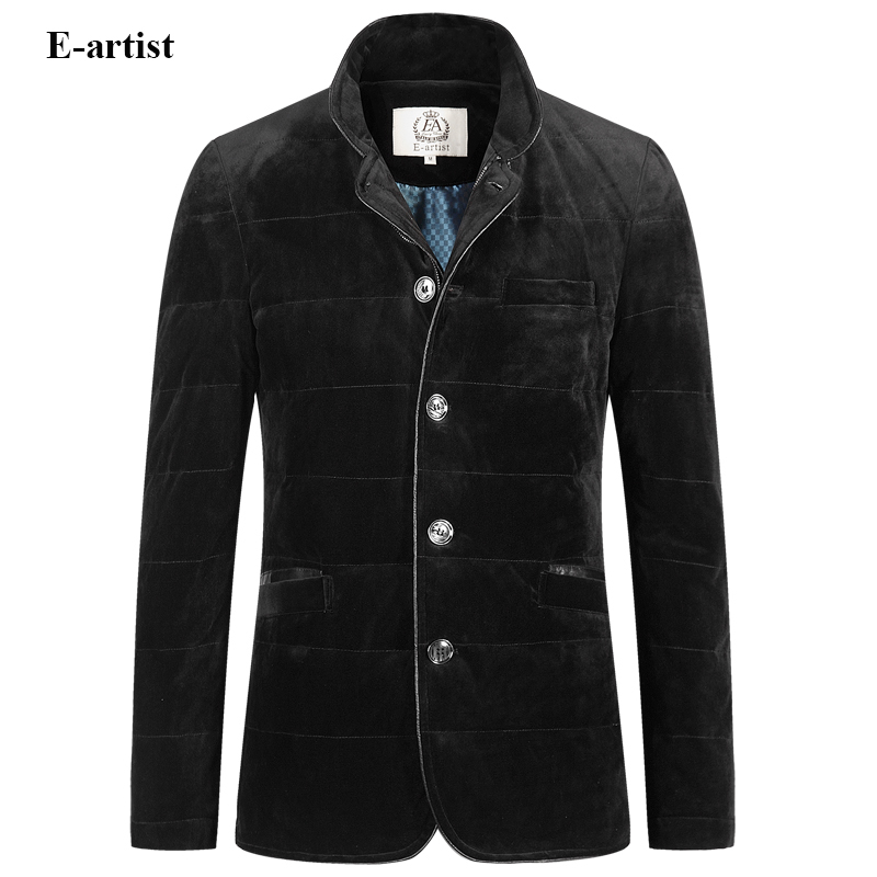 E-artist Mens Stand Velvet Duck Down Jackets Coats Slim Fit Casual Male Parkas Outwear Overcoats for Winter Plus Size 5XL Y37
