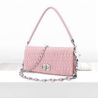 2019 новые модные женские сумки из овчины с цепочкой, роскошные женские сумки из натуральной кожи, маленькие розовые сумки для женщин