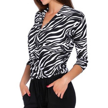 350c4a36b99d Zebra Pattern Leopard Print Overlap Blouse Women V Neck Long Sleeve  Surplice Wrap Top Office Lady