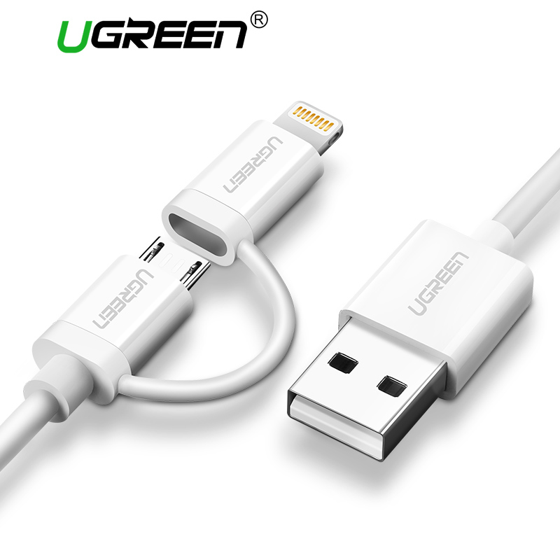 Ugreen 2 in 1 Cavo USB per il iphone 7 6 MFi Fulmine a Micro USB Cavo Dati Cavo di Ricarica Veloce per Samsung Mobile Phone cavo