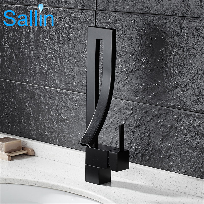 Sallin Black Brass Basin Faucet Single Handle Waterfall Basin Mixer Tap Hot And Cold Bathroom Faucet
