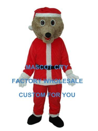 2014 Christmas Bear Mascot Costume Adulto Dimensione Dei Cartoni Animati Vacanza Invernale Mascotte Mascota Outfit Suit Fancy Dress Sw1238
