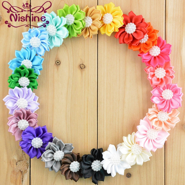 Nishine 10PCS Satin Ribbon Multilayers Fabric Flowers With Acrylic Pearl For Headbands Without Clips Girl DIY Hair Accessories