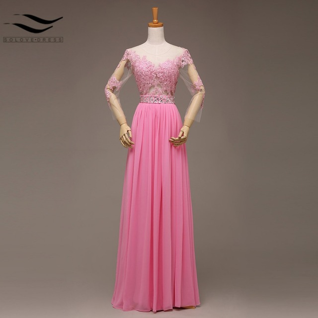 Fashionable Sexy Long Sleeves Pink Beading Sashes See Though Back ...