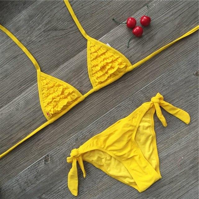 4 color brand 2019 Summer girls swimwear soild baby kids swimwear biquini infantil swimsuits falbala bikini girl for 6-14years