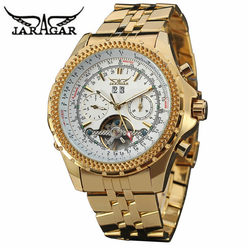 New Classic Design JARAGAR Gold Watches Luxury Brand Men s Fashion Automatic Hollow Out Man Mechanical
