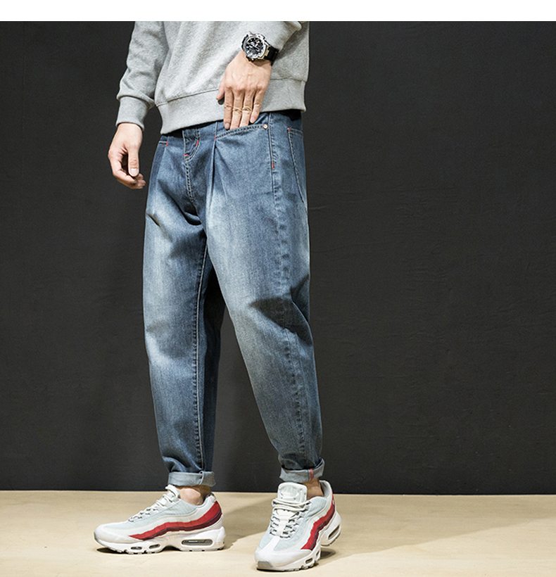 KSTUN Harem Jeans Men Korean Style High Quality Brand Retro Baggy Casual Fashion Pockets Trousers Blue Black Tapered Plus Size 24