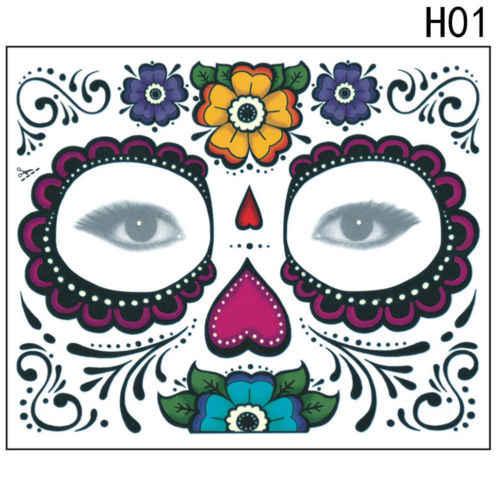 طويلة الأمد وسهلة لإزالة وجه قناع السكر الجمجمة الوشم المؤقت الزهور تصميم فريد الوجه قناع