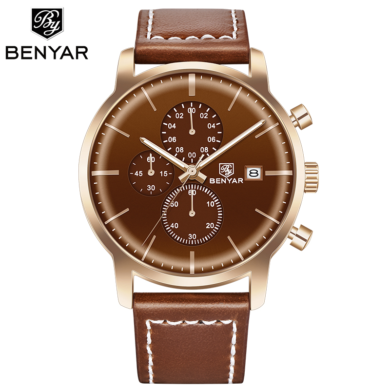BENYAR Men's Watches Deluxe Golden Military Chronograph Sport Top-Brand Fashion Relogio