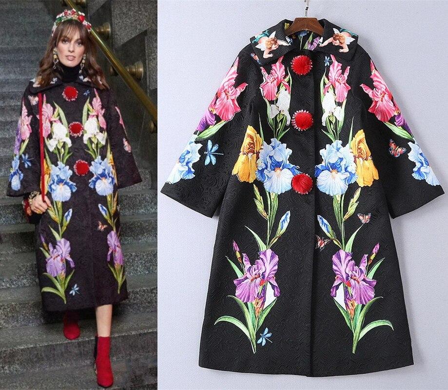 Изящные женские вышивка пальто 2018 осень зима взлетно посадочной полосы цветочным принтом жаккардовое пальто D654