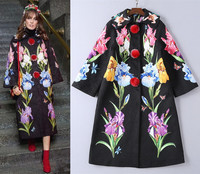 Chic women embroidery overcoats 2018 Fall winter runway floral print jacquard coat D654