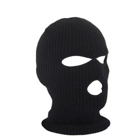 Full Face Cover Mask Three 3 Hole Knit Hat Winter Stretch Snow Mask Beanie Hat Cap New Black Warm Face Masks