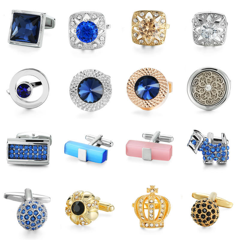 XKZM Brand Cuff Links Luxury Blue Glass Cufflinks For Mens High Quality Round Crystal Cufflinks Shirt Cuff  Button Wedding Gift