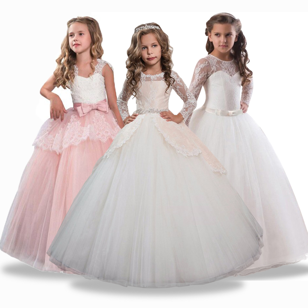 3-14 Year Kids   Girls   Wedding   Flower     Girl     Dress   Elegant Princess Party   Girl   Pageant Formal   Dress   Sleeveless Lace Tulle Long   Dress