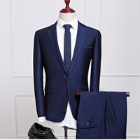 Новая осень мужской костюм темно отворот модель мужские деловые офисные профессиональные костюмы и платье для выпускного вечера (куртка + Ш