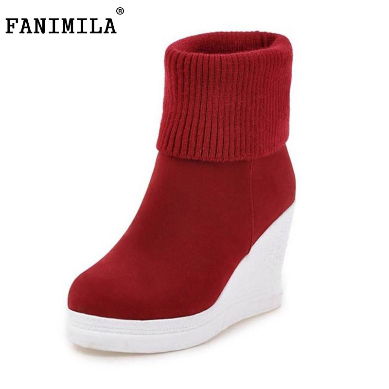 FANIMILA Size 32-43 Winter Shoes Women High Heel Wedges Ankle Winter Boots For Women Thick Fur Plush Inside Warm Botas Footwear thigh high over the knee snow boots womens winter warm fur shoes women solid color casual waterproof non slip plush wedges botas