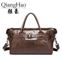 Men Travel Bags Multifunction Men 100 Genuine Leather Travel Bag Big Capacity Shoulder Handbag Tote Bag