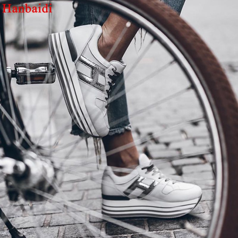 Hanbaidi Real Leather 50/80mm Platform Oxford Women Shoes Lace Up Flats Top High Quality Leather Casual Shoes Sneaker Women 40