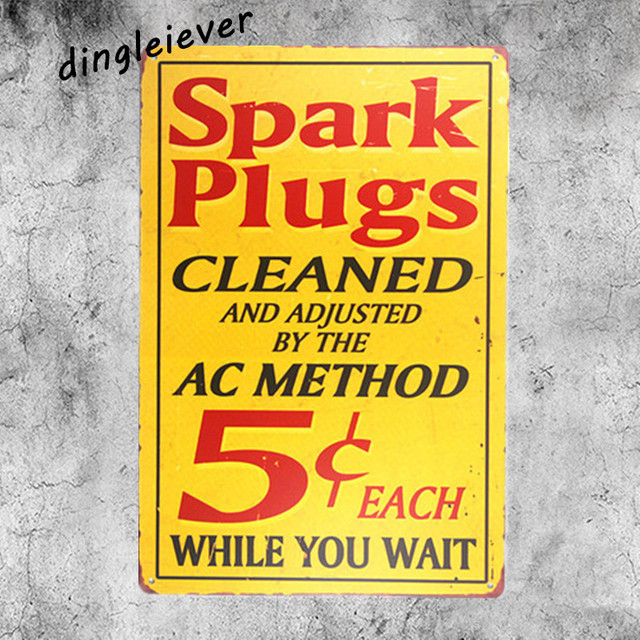 Spark plugs cleaned Vintage car Metal Sign Wall Sticker For Drink ...