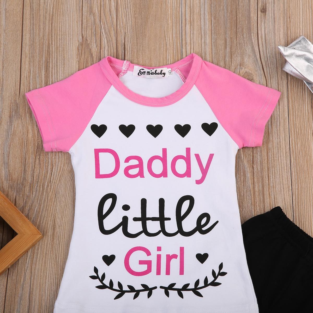 a711d5c24 2017 Summer New Children Daddy Little Girl Clothing Boutique Kids Girls  Graphic Tee T shirt Pants