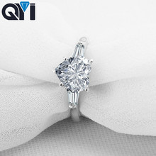 QYI Ring Silver 925 Rings 2 ct Heart Cut Fashion Women Engagement Jewelry Zircon Female Wedding Finger Flower Rings wholesale xqd 25 pneumatic plastic strap wrapping tool