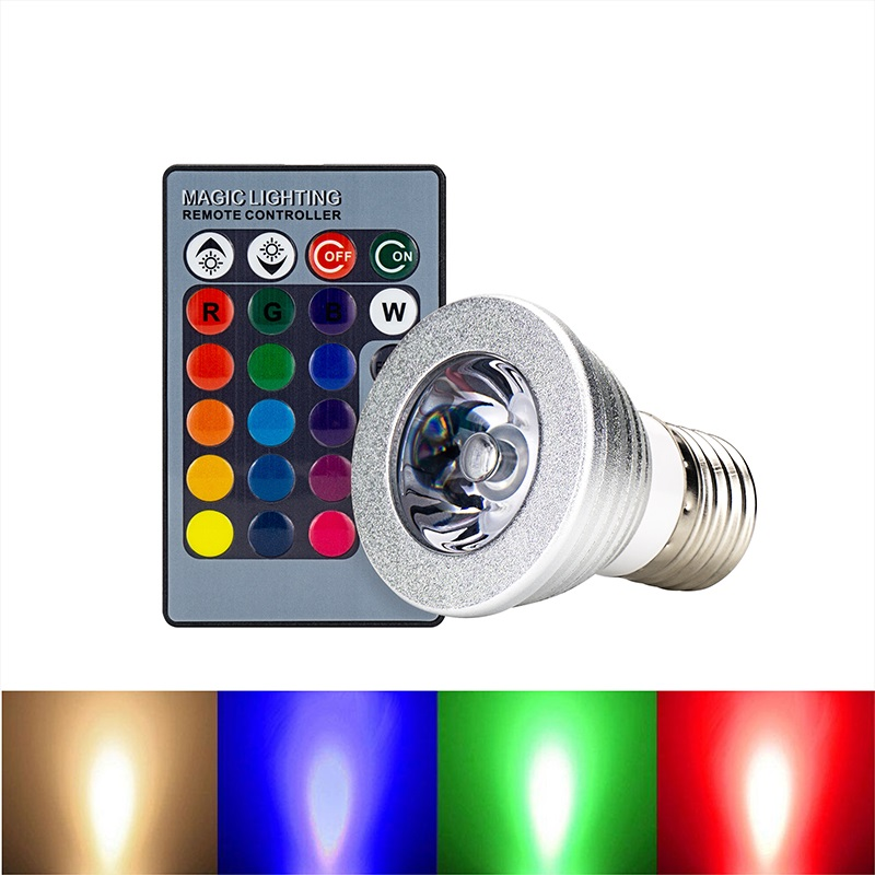 5pcs RGB Led Holiday Lighting Bulb Remote Control Lamp Cup E27 4W 16 Color Variable Night Lights Outdoor Garden Wedding  Decor