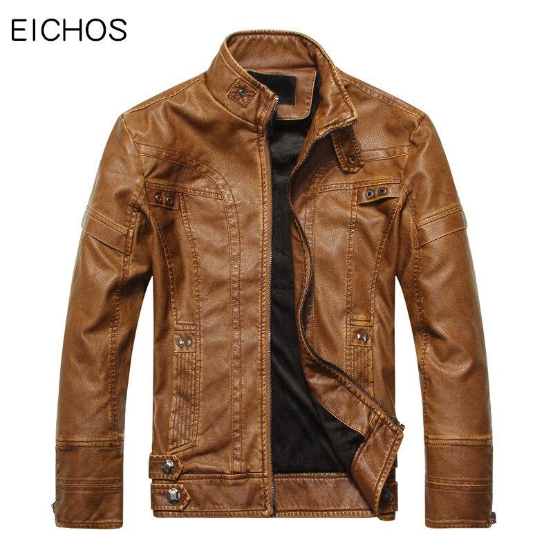 EICHOS 2017 marque vêtements en cuir vestes hommes Slim Fit Pu cuir beau manteau décontracté moto en cuir veste PY0904