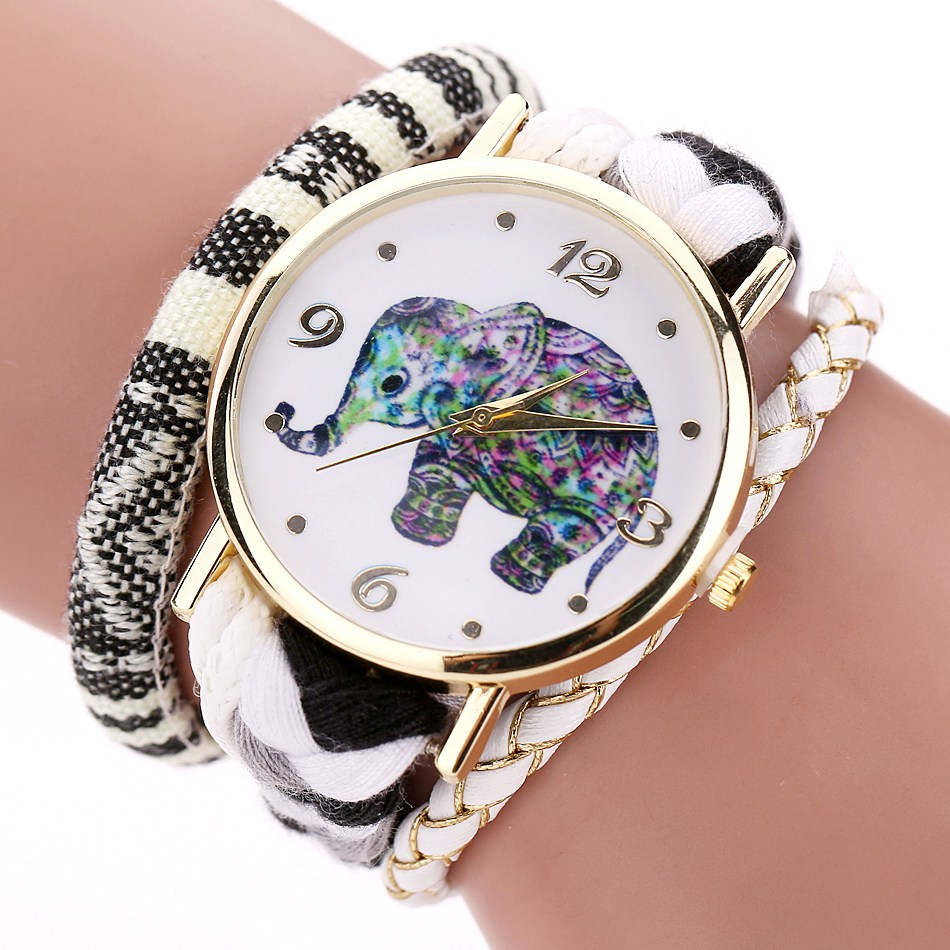 Ladies Leather Fashion Watches Luxury Gold Elephant Dress Watches 2017 Duoya Weave Band Luxury Bracelet Watch Quartz Clock duoya fashion luxury women gold watches casual bracelet wristwatch fabric rhinestone strap quartz ladies wrist watch clock