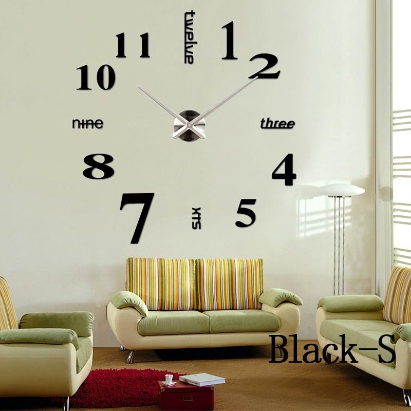 Home decoration Quartz big wall clock modern design 3D DIY large ...